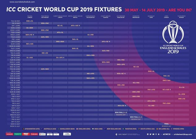 view full 2019 world cup schedule