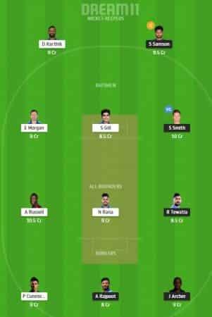 RR Vs KKR : DREAM11 Team Prediction