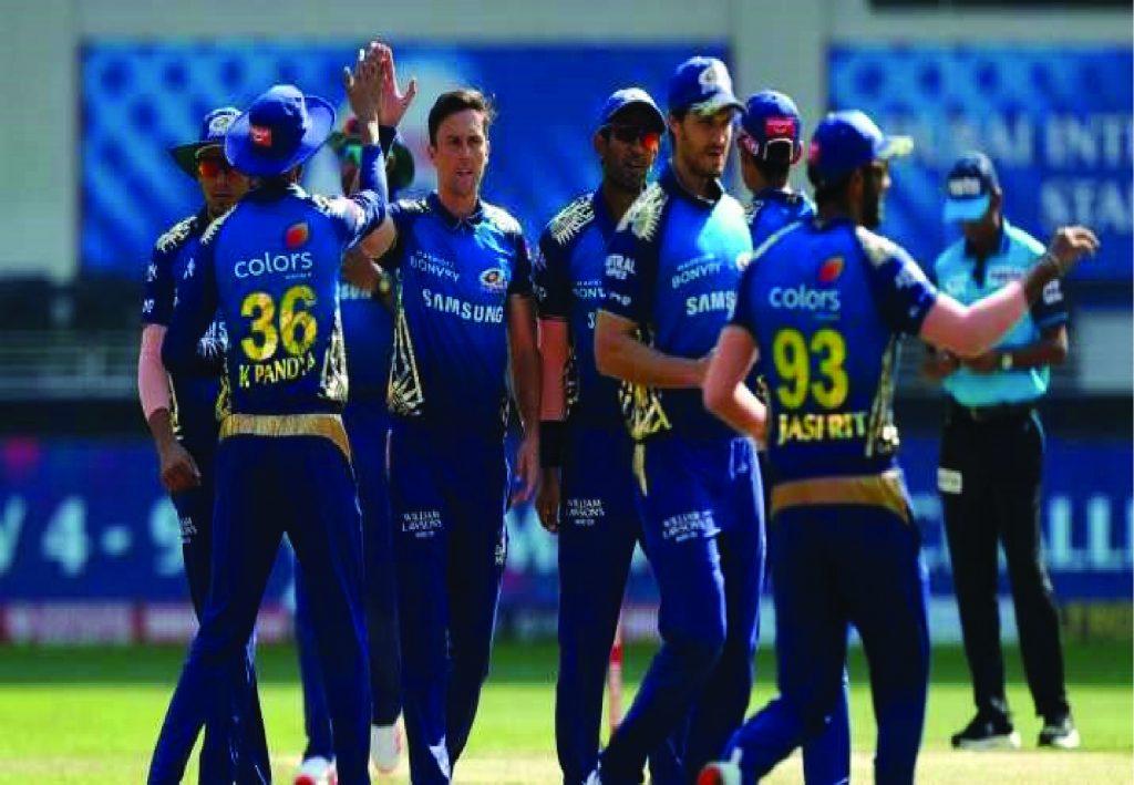 Mumbai Indians Celebrating wicket(MI) against DC