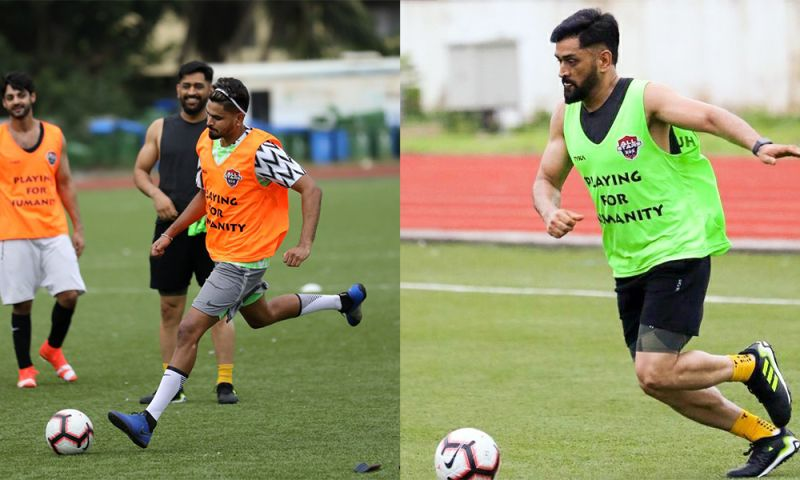 Shreyas Iyer to the left, MS Dhoni to the right. Latest MS Dhoni images in India's retro jersey, football with Ranveer, Iyer