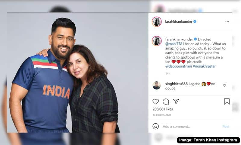 Famous Director Farah Khan with MS Dhoni. Latest MS Dhoni images in India's retro jersey.
